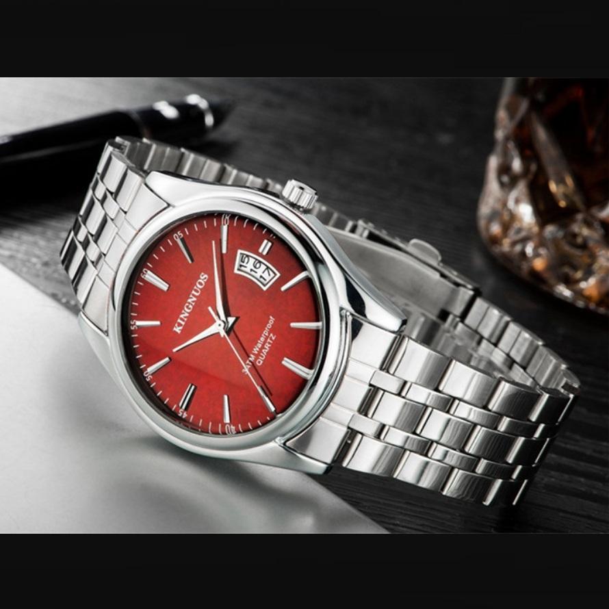 Металлические часы «Kingnuos» с красивым браслетом и коричневым циферблатом купить. Цена 785 грн