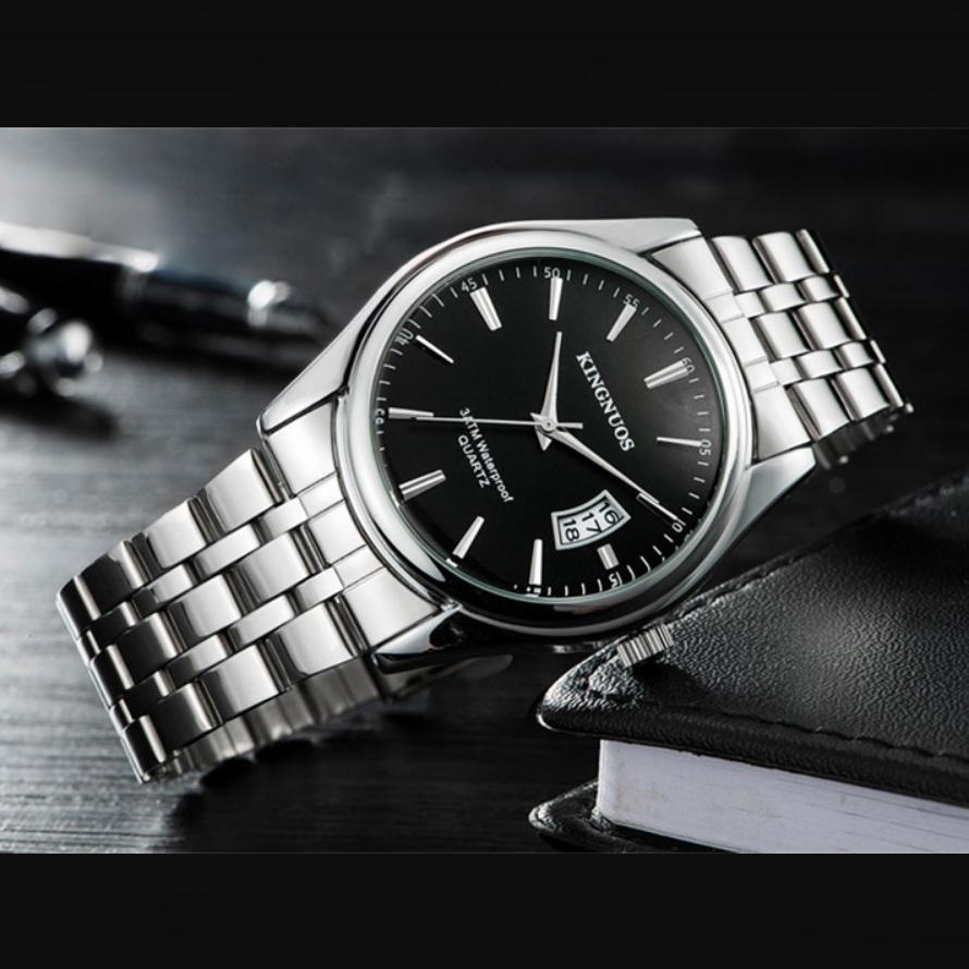 Строгие мужские часы «Kingnuos» с кварцевым механизмом и стальным браслетом купить. Цена 785 грн