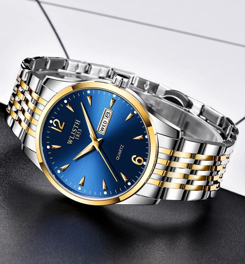 Презентабельные мужские часы «Wlisth» с календарём и двухцветным стальным браслетом купить. Цена 1199 грн