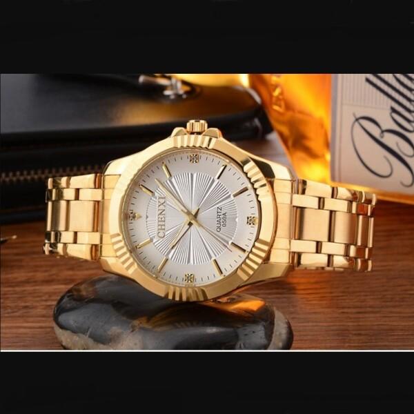 Нарядные мужские часы «Chenxi» с красивым циферблатом и браслетом золотого цвета купить. Цена 1090 грн