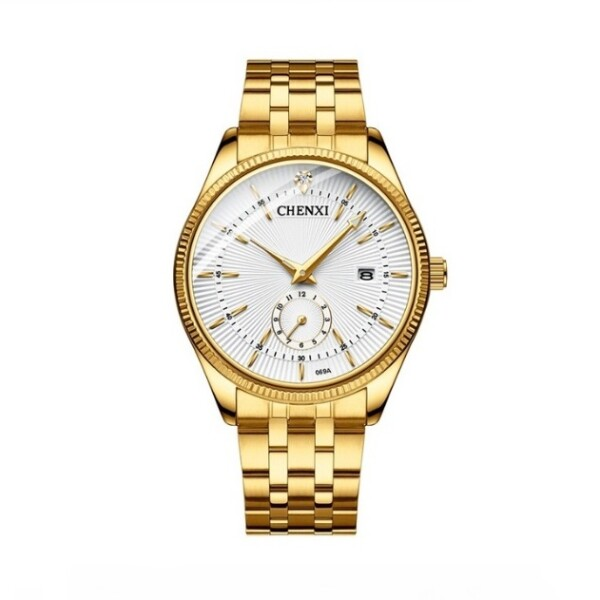 Солидные мужские часы «Chenxi» в классическом стиле с браслетом золотого цвета купить. Цена 1165 грн