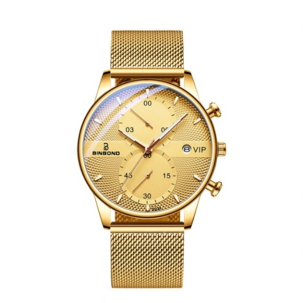 Круглые мужские часы «Binbond» с функцией хронографа и металлическим ремешком-кольчугой купить. Цена 1285 грн