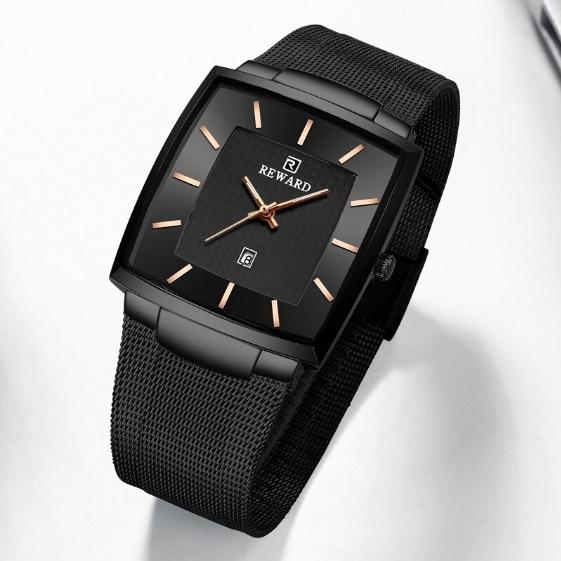 Чёрные мужские часы «Reward» квадратной формы с металлическим ремешком купить. Цена 1299 грн
