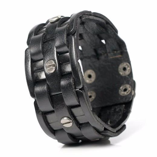 Широкий чёрный браслет из натуральной кожи на кнопках купить. Цена 255 грн