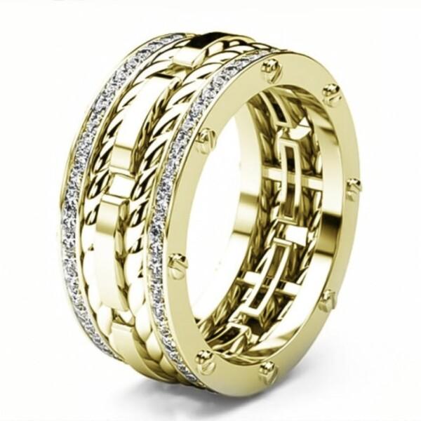 Широкое кольцо «Gedeon» золотого цвета с двумя дорожками из страз купить. Цена 199 грн