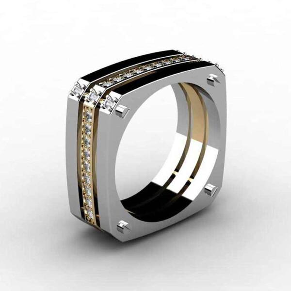 Модерновое кольцо «Gedeon» в двухцветном исполнении с дорожкой из страз купить. Цена 199 грн