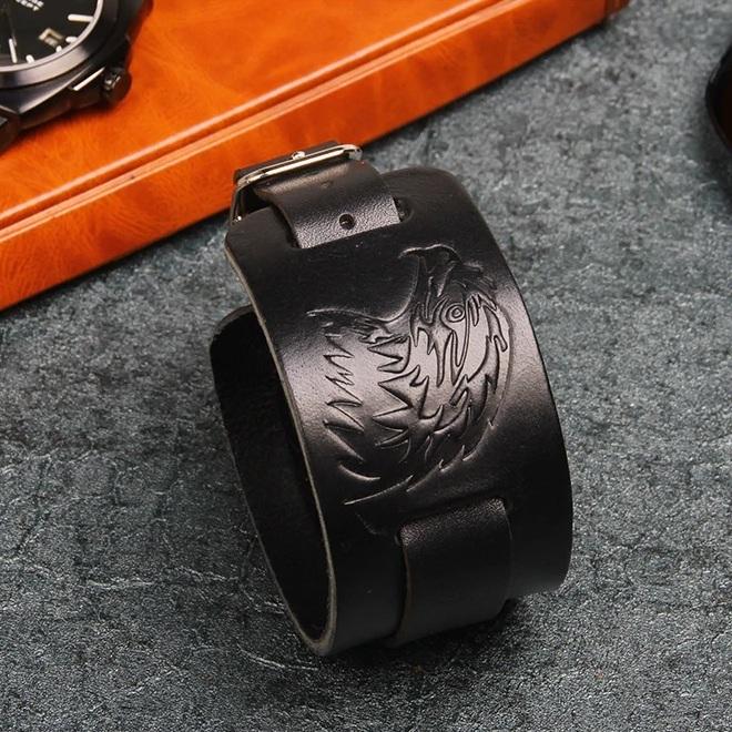 Рокерский браслет из кожи с изображением орла и застёжкой-пряжкой купить. Цена 185 грн