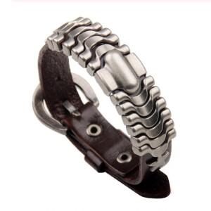 Потрясающий кожаный браслет с металлическими вставками и пряжкой купить. Цена 220 грн