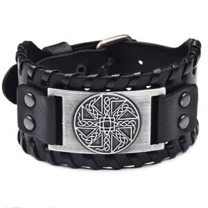 Славянский кожаный браслет с изображением коловрата купить. Цена 255 грн
