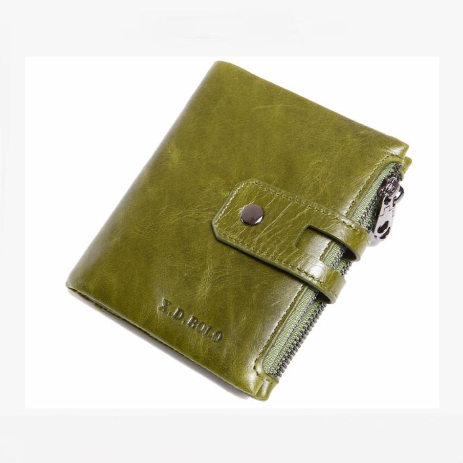Яркий женский кошелёк «X.D.Bolo» из тонкой масляной кожи оливкового цвета купить. Цена 780 грн