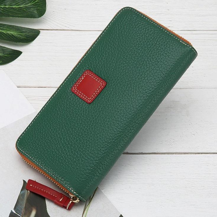 Стильный женский кошелёк «X.D.Bolo» на молнии из зелёной натуральной кожи купить. Цена 899 грн
