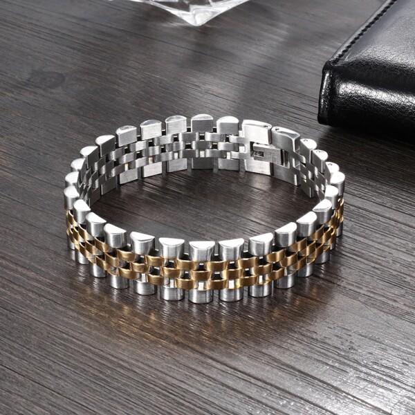 Солидный стальной браслет «Барханы» двухцветного исполнения с красивым плетением купить. Цена 465 грн