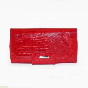 Дорогой турецкий кошелёк «Karya» из лаковой кожи ярко-красного цвета купить. Цена 1290 грн