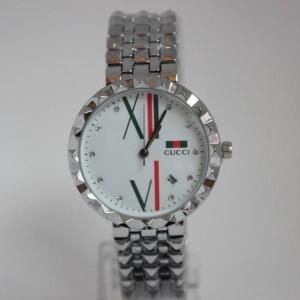 Трендовые женские часы «Gucci» с красивым циферблатом и металлическим браслетом фото. Купить