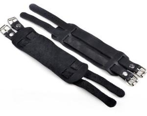 Широкий кожаный браслет чёрного цвета с двумя ремешками с пряжкой фото. Купить
