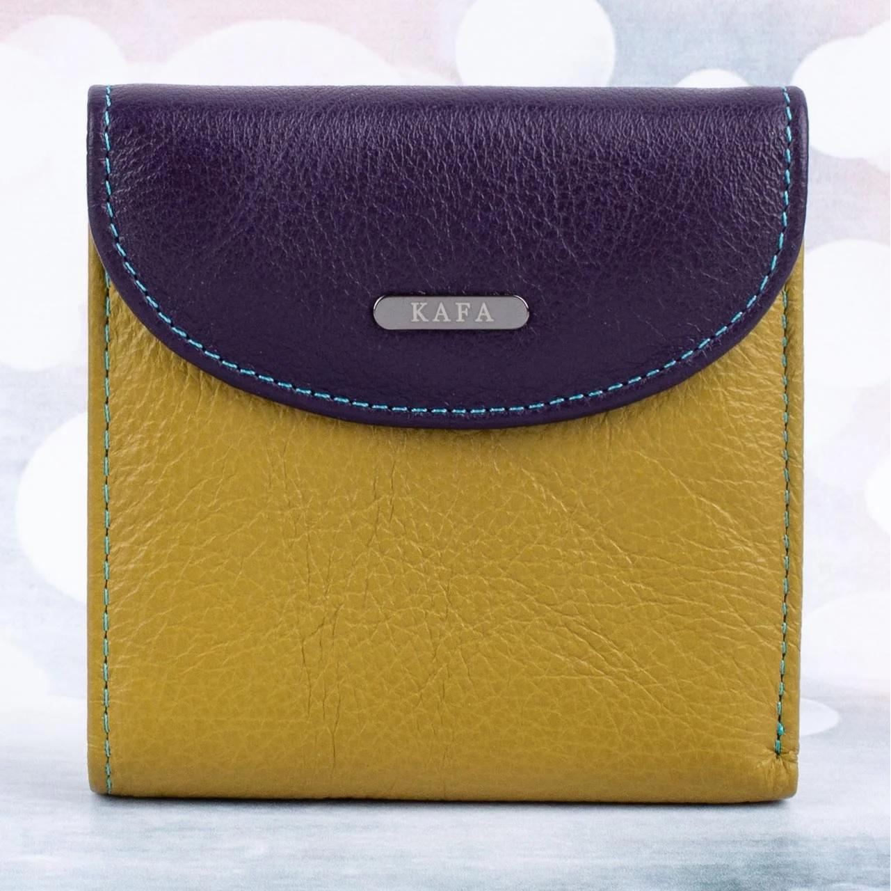 Современный кошелёк «KAFA» из мягкой натуральной кожи ярких цветов купить. Цена 645 грн