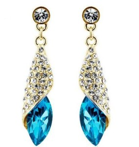 Красивые серьги «Анхель» с голубым камнем и белыми стразами, застёжка-гвоздик купить. Цена 125 грн