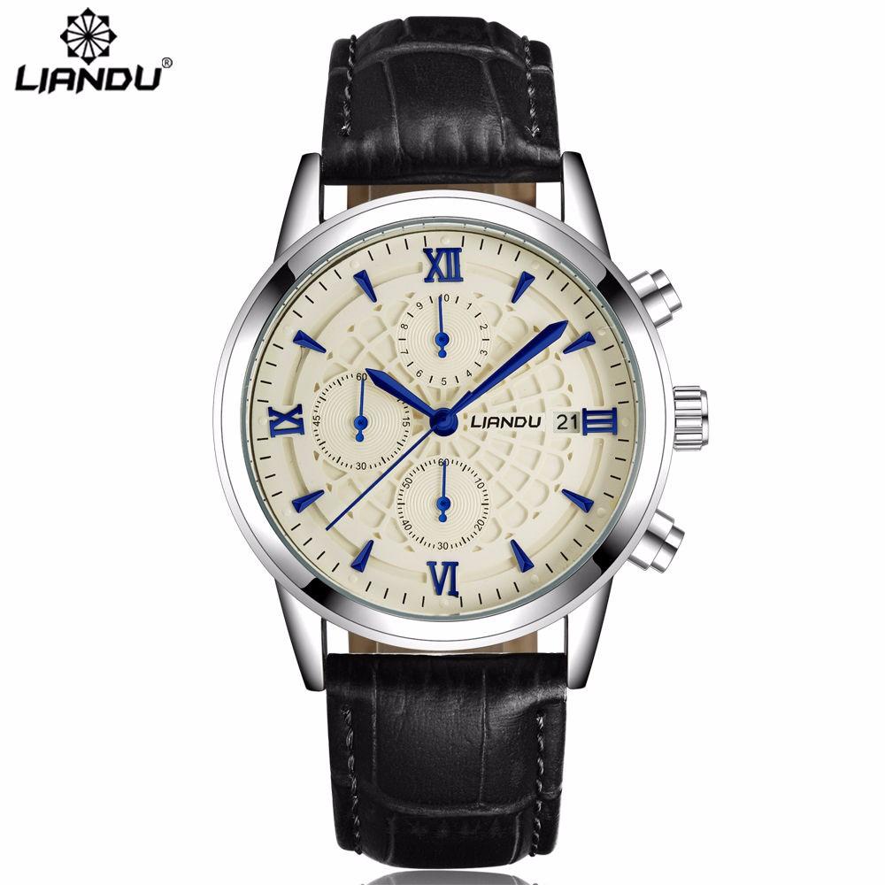 Классические многофункциональные часы «Liandu» с хронографом и окошком даты купить. Цена 899 грн
