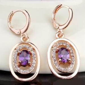 Висячие овальные серьги «Лигурия» с фиолетовым камнем в окружении из бесцветных страз купить. Цена 99 грн или 310 руб.