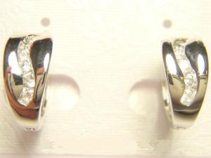 Недорогие маленькие серьги «Лавина» с покрытием из родия и бесцветными фианитами купить. Цена 135 грн или 425 руб.