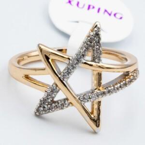 Необычной формы кольцо «Звезда» с двухцветным покрытием купить. Цена 199 грн