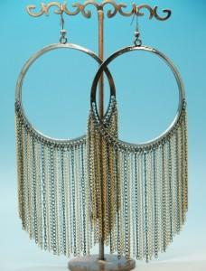 Грандиозные серьги «Юкатан» в виде огромных колец и свисающих от них цепочек купить. Цена 115 грн или 360 руб.