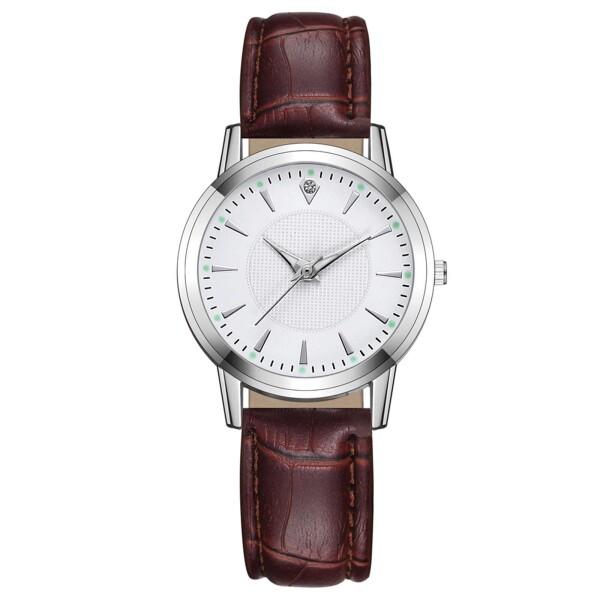 Небольшие женские часы «Quartz» в деловом стиле с рыжим ремешком купить. Цена 265 грн