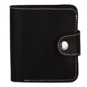 Компактный мужской бумажник «KAFA» из чёрной кожи флотар купить. Цена 399 грн