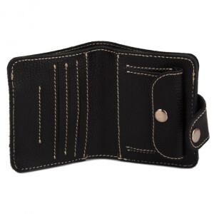 Компактный мужской бумажник «KAFA» из чёрной кожи флотар фото 1