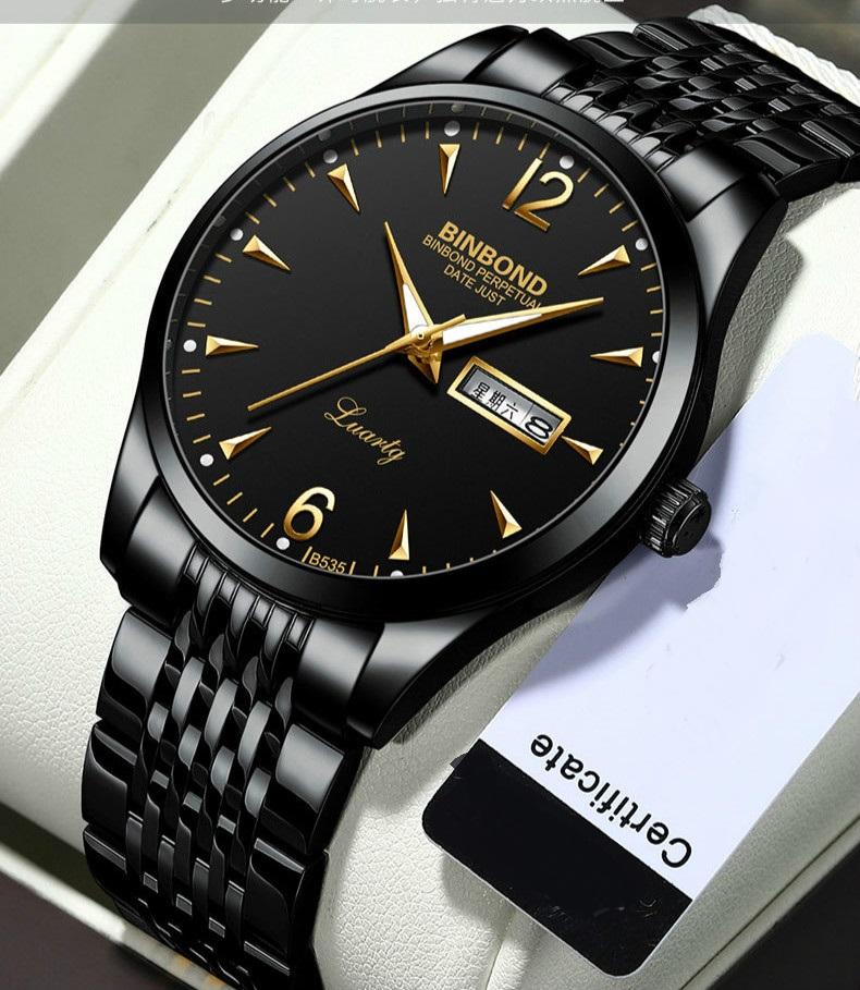 Чёрные мужские часы «Binbond» с кварцевым механизмом с календарём купить. Цена 1099 грн