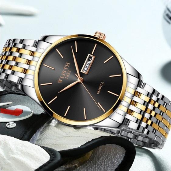 Круглые часы «Wlisth» с серебристым браслетом, чёрным циферблатом и календарём купить. Цена 899 грн