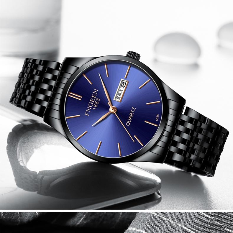 Лаконичные мужские часы «Fngeen» чёрного цвета с металлическим браслетом купить. Цена 899 грн