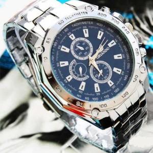 Металлические часы «Orlando» с большим синим циферблатом и серебристым браслетом фото. Купить