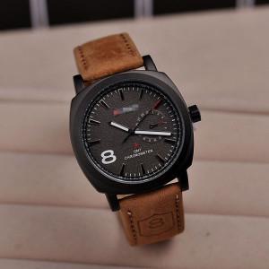 Лаконичные чёрные часы «Curren» с мягким ремешком рыжего цвета купить. Цена 299 грн