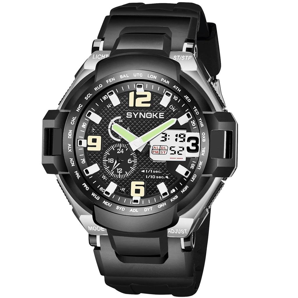 Крупные мужские часы «Synoke» чёрного цвета в спортивном стиле купить. Цена 475 грн