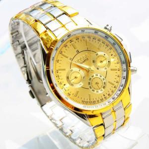Массивные часы «Rosra» с золотым циферблатом и двухцветным металлическим браслетом фото. Купить