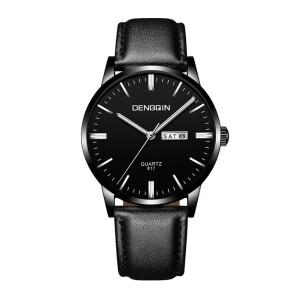 Стильные часы «Dengqin» чёрного цвета с функцией календаря купить. Цена 399 грн
