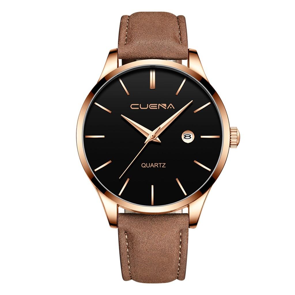 Стильные мужские часы «Cuena» с золотым корпусом и коричневым ремешком купить. Цена 399 грн