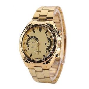 Солидные мужские часы «M&H» золотого цвета с металлическим браслетом фото. Купить