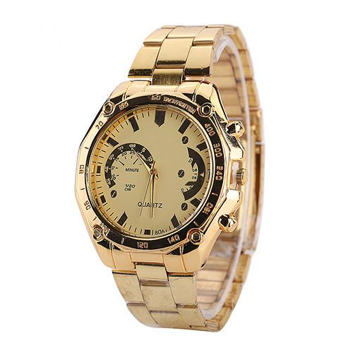 Солидные мужские часы «M&H» золотого цвета с металлическим браслетом купить. Цена 275 грн