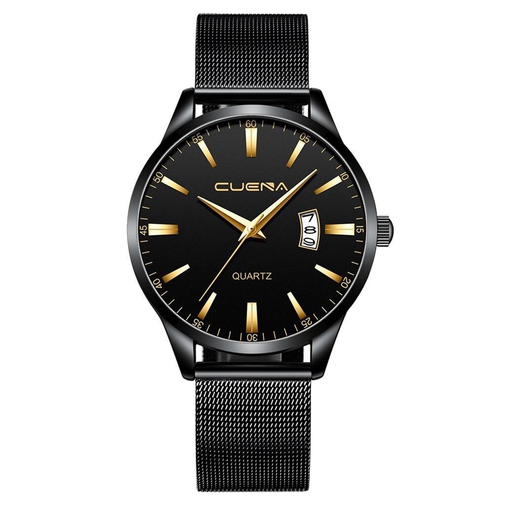 Чёрные мужские часы «Cuena» с окошком даты и металлическим ремешком купить. Цена 499 грн