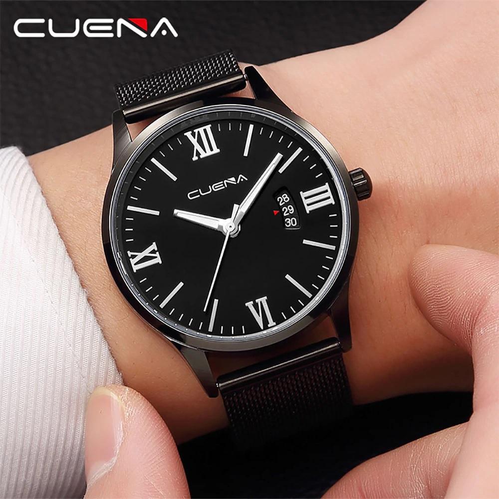 Чёрные мужские часы «Cuena» с функцией даты и ремешком-кольчугой купить. Цена 399 грн