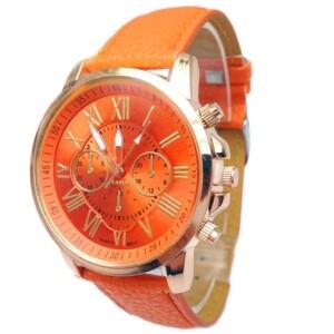 Яркие женские часы «Geneva» оранжевого цвета с римским цифрами купить. Цена 175 грн