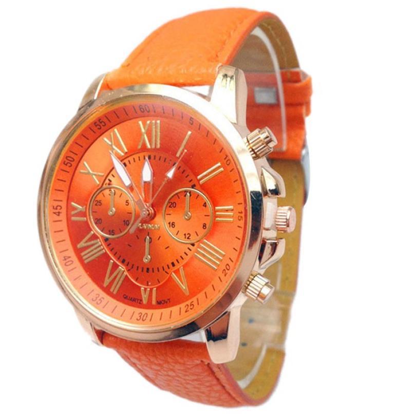 Яркие женские часы «Geneva» оранжевого цвета с римским цифрами купить. Цена 235 грн