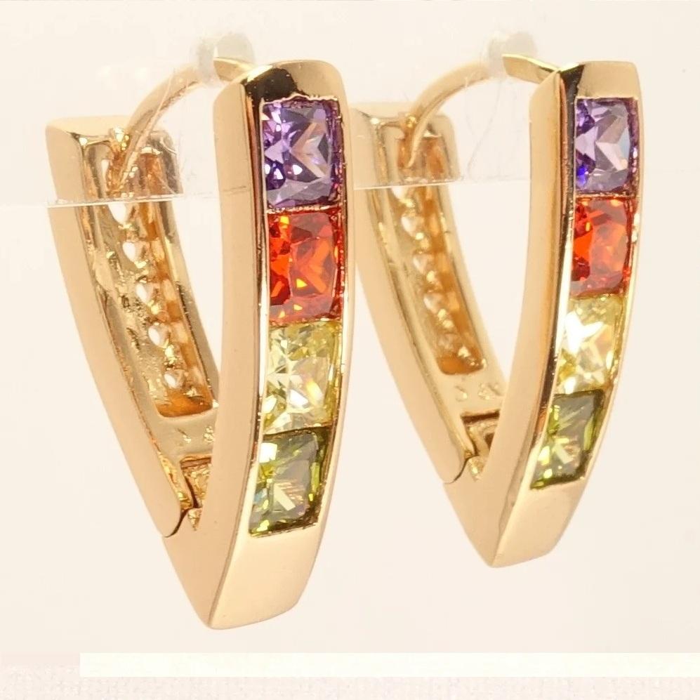 Яркие серьги «Светофоры» с разноцветными камнями и золотым покрытием купить. Цена 165 грн