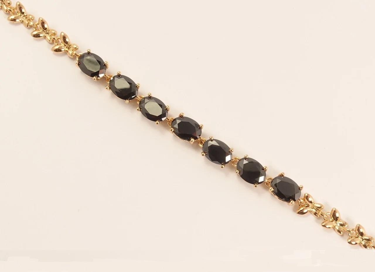 Молодёжный браслет «Меринда» из овальных чёрных фианитов и позолоты купить. Цена 285 грн