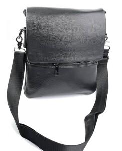 Качественная мужская сумка из натуральной зернистой кожи чёрного цвета купить. Цена 1399 грн
