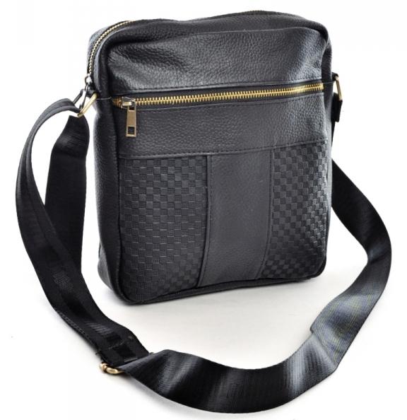 Простая мужская сумка «Laras» среднего размера из плотной чёрной кожи купить. Цена 960 грн