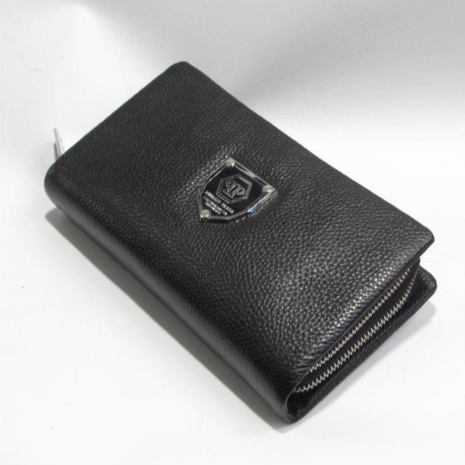 Вместительный мужской клатч «P.Plein» на два отделения из кожи чёрного цвета фото. Купить