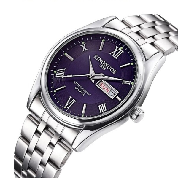 Аккуратные мужские часы «Kingnuos» с полным календарём и браслетом из нержавеющей стали купить. Цена 885 грн